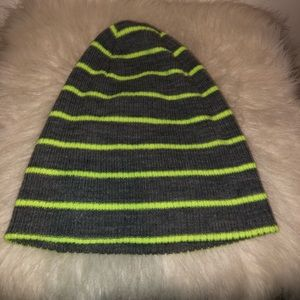Green and gray striped beanie